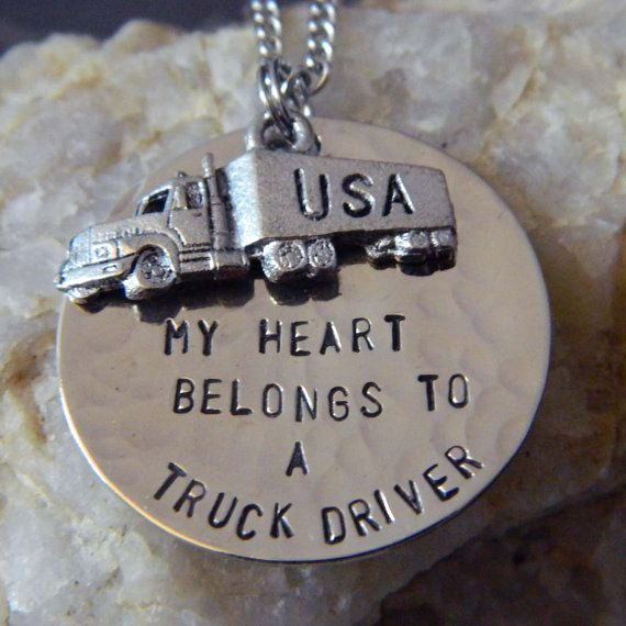 My Heart Belongs to a Truck Driver Handstamped Necklace with Semi Truck on Etsy, $28.00