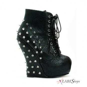 Belladona Black Studded Curved Wedge Ankle Boot by Bettie Page Shoes by Ellie