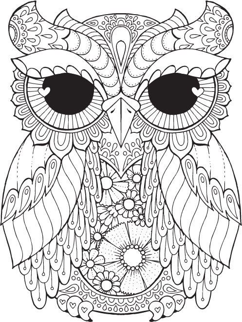Kurby owl colour with me hello angel coloring design detailed meditation adult colouring pagesadult