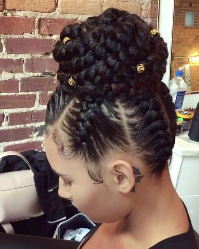 Ghana Braids Into Bun With Images Hair Styles Braid Styles