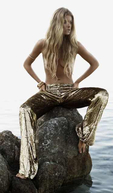 gold pants- Doutzen Kroes: Castaway - Vogue UK by Josh Olins, January 2013