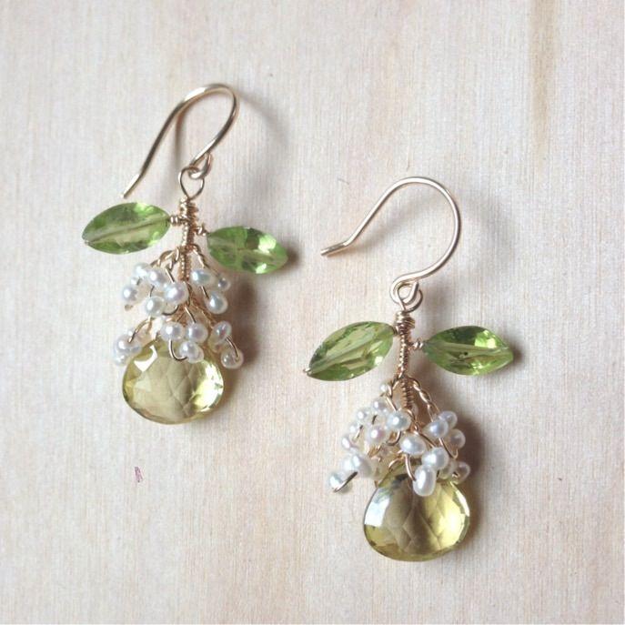 "1.5"" longLemon Quartz, Freshwater Pearls, Peridot, 14k GoldfillOne of a kind!"