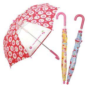 傘キッズ・長傘45cm/女の子が大好きな可愛い苺&チェリー柄傘・1面だけ透明ビニールになっていて前が見やすいので登園、通学に最適・傘をまとめて留めるベルト生地に直接名前が書けます/女の子園児傘かさ雨具/4199975-60552