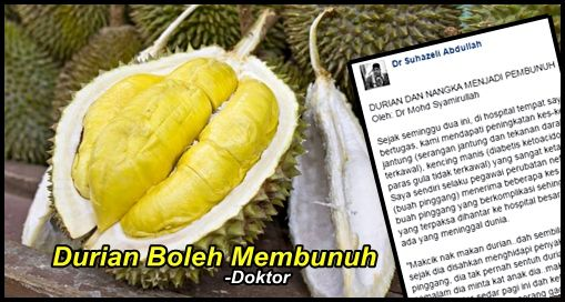 Durian Sebenarnya Mampu Membunuh !!   Durian Sebenarnya Mampu Membunuh !!  Kini musim durian melanda lagi. Buat penggemar durian sudah tentu tak sabar menikmati raja buah buahan ini. Sememangnya terdapat ramai hantu durian di Malaysia dan mampu makan sehingga lebih dari sepuluh buah durian. Namun sememangnya terdapat keburukkan makan buah ini bahkan ianya mampun membunuh. Jom baca perkongsian seorang doktorDURIAN DAN NANGKA MENJADI PEMBUNUH Oleh: Dr Mohd Syamirullah Sejak seminggu dua ini di…