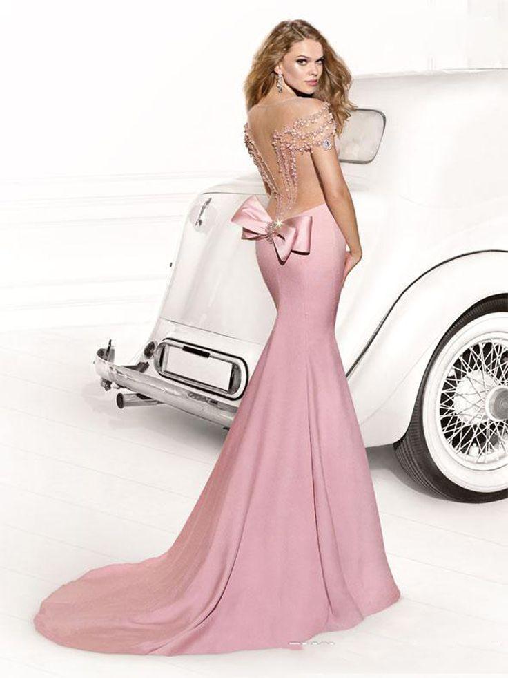 2016 Sheer contas Tarik Ediz vestidos sereia frisada tribunal TrainCrystal longo Formal Prom vestidos Abendkleider Custom Made em Vestidos de Noite de Casamentos e Eventos no AliExpress.com | Alibaba Group