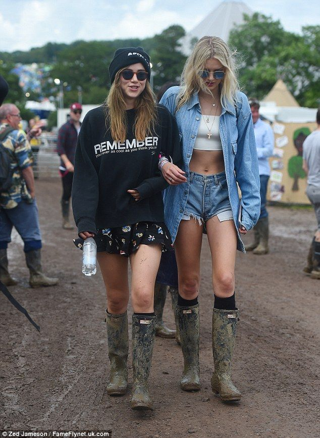 Getting stuck in: It looked like the models were enjoying themselves despite the muddy conditions
