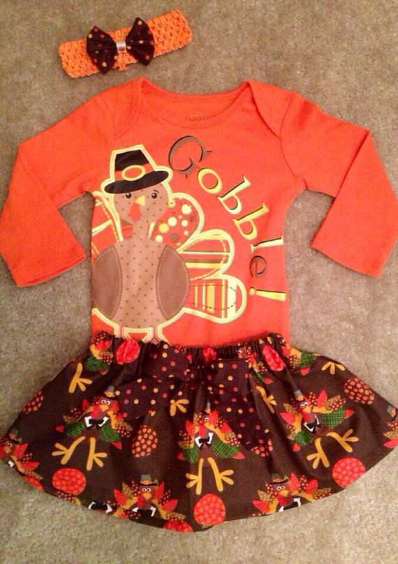 First Thanksgiving dress up skirt outfit baby girl My First Turkey day 1st fall harvest Girls Size newborn 0-3 6-9 12 months