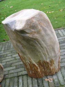Versteend hout B9.  Ons versteend hout komt onder andere uit de binnenlanden van Java-Indonesië. Het zijn stukken versteend hout die 2 tot 25 miljoen jaren oud zijn. Versteend hout wordt ook wel fossiel hout genoemd. Onze voorraad, van altijd ca. 100 stukken fossiel hout, wordt regelmatig aangevuld.