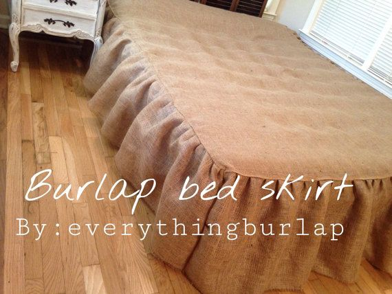 Dress up your bed with this stylish , vintage country chic , rustic burlap bed skirt , covers 3 sides of the bed Custom drop This burlap bed