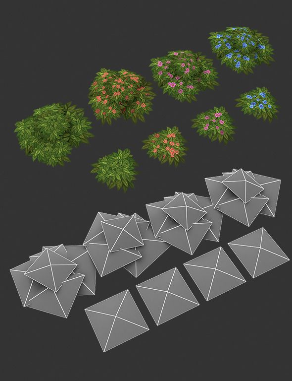 3DOcean Low Poly Grass Set 01 7713701