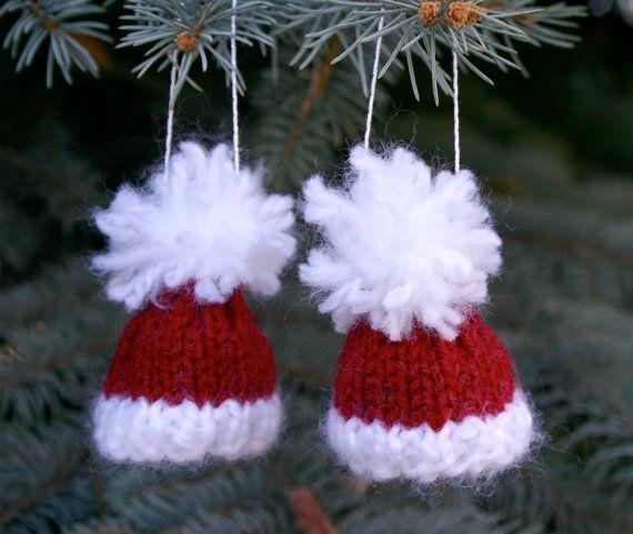 Red Hat Ornaments- Christmas Tree Decorations- Knit Santa Caps- Miniature, $7.50