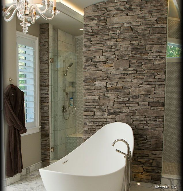 Cultured Stone Grey Southern Ledgestone residential interior feature wall bathroom project view