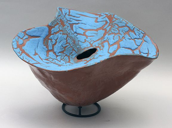 DOUBLE WALLED VESSEL TURQUOISE EDNA DICKINSON