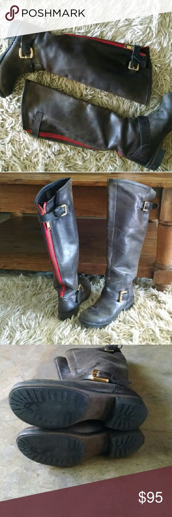 """🍄 SALE 🍄 Steve Madden Tall Boots sale Steve Madden Tall Knee High Boots Size 6 coolest military combat free people vibes with contrasting back red trim zip up the back. Lightweight. Comfortable low approx 1"""" heel. Shaft height approx 15"""" No try ons as they are too small for me :( Leather upper and the rest is manmade materials. Great overall preowned condition. Very minor scuffs + scratches on leather. Soles show minor wear but overall great plenty of life left. Great everyday boots…"""