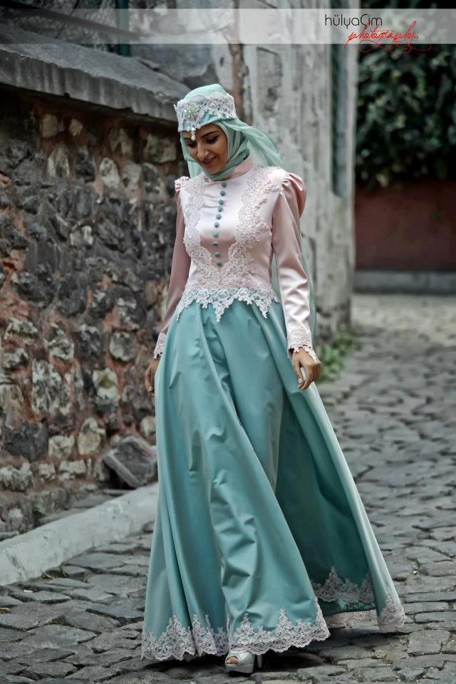 Hijab Fashion 2016/2017: peach blue wedding dress for hijab
