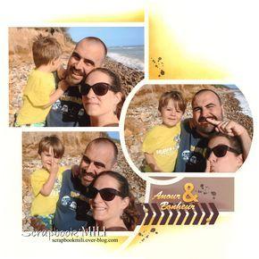 """Une page pleine de soleil, comme hier quand je l'ai réalisé :) Mise en page avec le duo de gabarit Azza Porto/Valparaiso, papier chamois, encre Cary moulu, figurine dentelle """"Amour & Bonheur"""", dies chevron, petit tampon tâches et pois sucrés Cary moulu. Bonne..."""