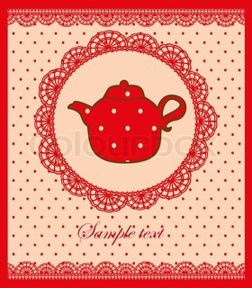 Vintage card with teapot vector illustration stock vector