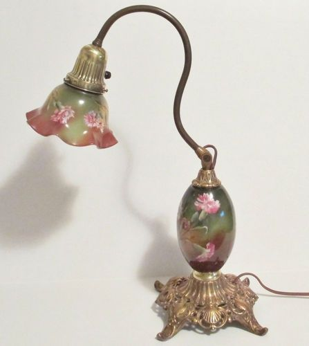 pairpoint+lamps | RARE Antique Pairpoint Desk Lamp Painted Glass Shades Body Pivot Neck ...
