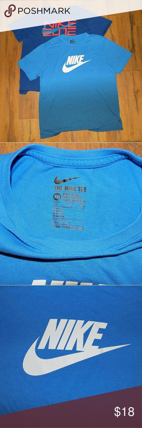 Nike T Shirt Bundle.  2 Tees.  XXL Two XXL Nike T Shirts with silk screen logos.  One dark blue and one gradient blue. Nike Shirts Tees - Short Sleeve
