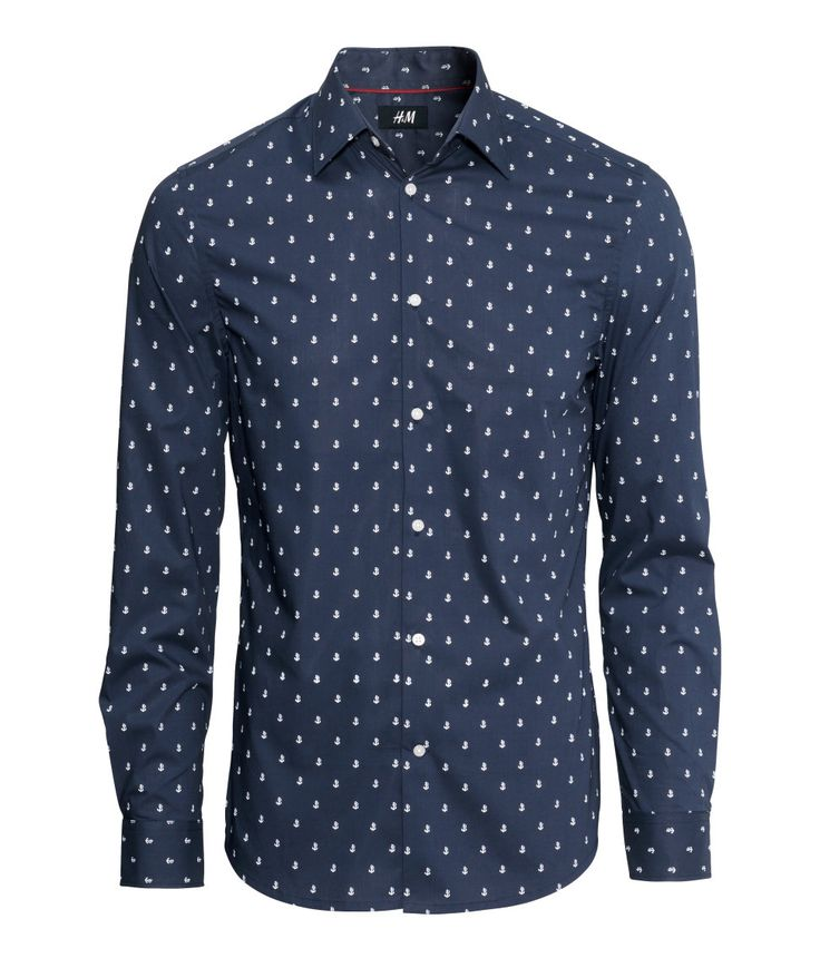 Slim-fit dark blue button-down shirt with white anchor pattern ...