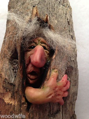 **Peeked Gnome Troll Goblin in Tree Shire Folk 502 OOAK by Thebearguy | eBay