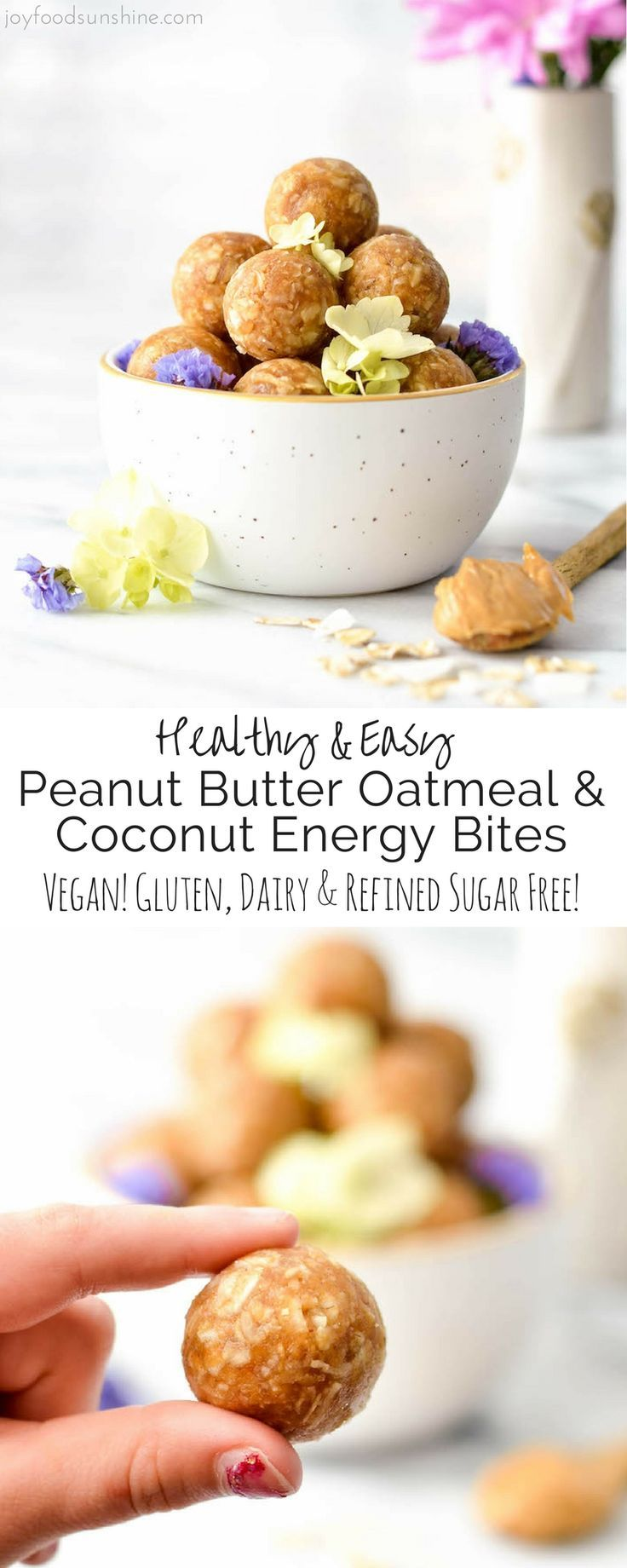 This Peanut Butter Oatmeal & Coconut Energy Bites recipe is an easy, healthy snack! It only takes 8 ingredients and 5 minutes to make! Gluten-free, dairy-free, refined sugar free and vegan-friendly!