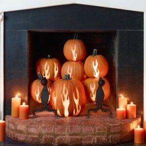 Fireplace Pumpkins Candle LightDecor Ideas, Halloween Decor, Fireplaces Decor, Halloween Fireplaces, Halloween Pumpkin, Country Living Magazine, Pumpkin Decor, Pumpkin Carvings, Carvings Pumpkin
