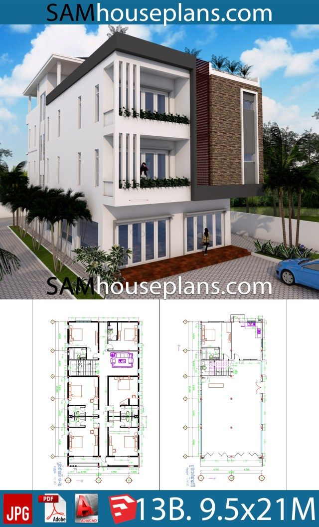 House Plans 9 5x21 With 13 Bedrooms Sam House Plans House Plans House Apartment Plans