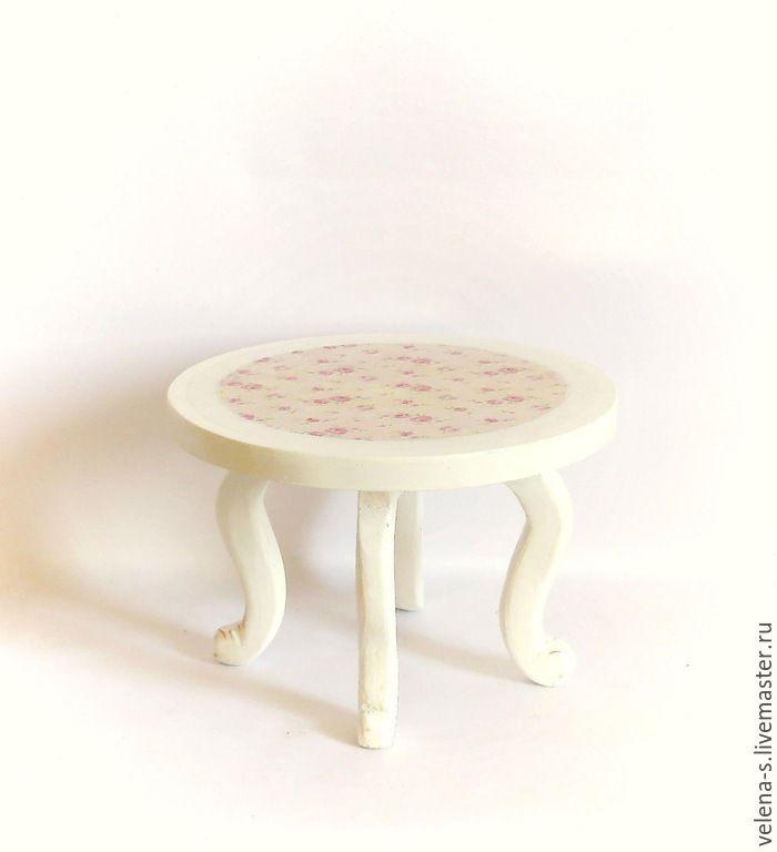 Купить Столик кукольный - розовый, белый, стол, столик, кукольный дом, кукольный стол, Декупаж