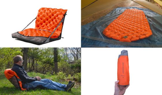 The Sea to Summit Air Chair is a lightweight strap and harness system that turns your sleeping mat into a comfortable camp chair.