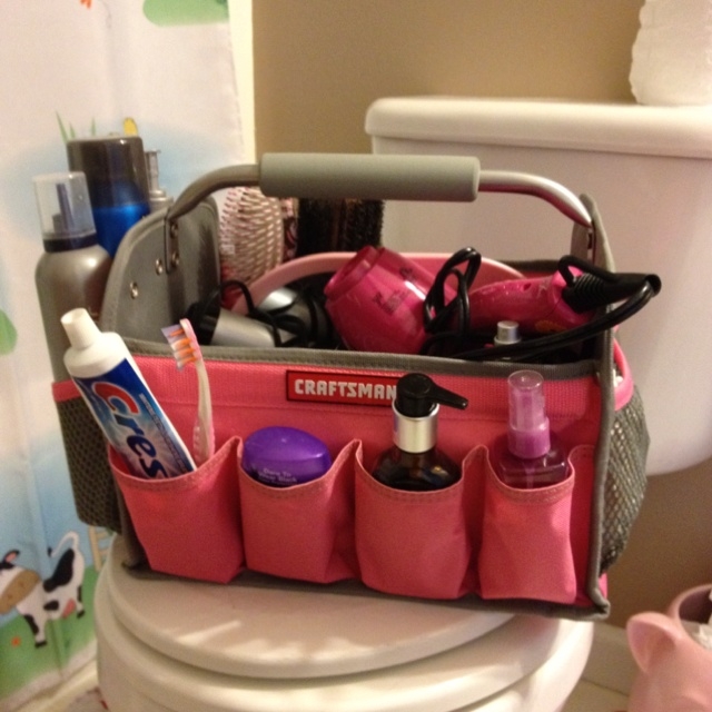 My craftsman shower caddy! I could never find a caddy big enough to hold ALL my stuff, so this toolbox works great!!!