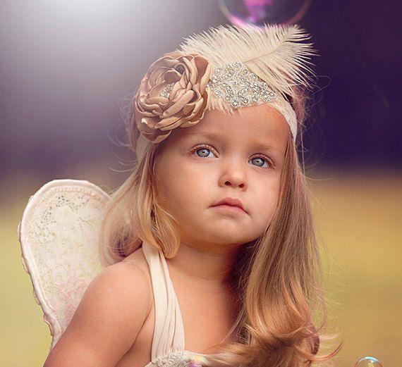 Baby Girl Feather Headband Gold Headband to match Dollcake Dress Flower Girl Headband Gatsby Style Headband Wedding Headpiece Babptism Crown AU$34.95