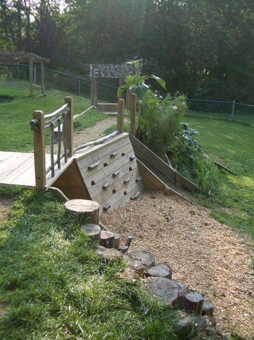 Kid friendly garden ideas... LOVE the climbing wall part.