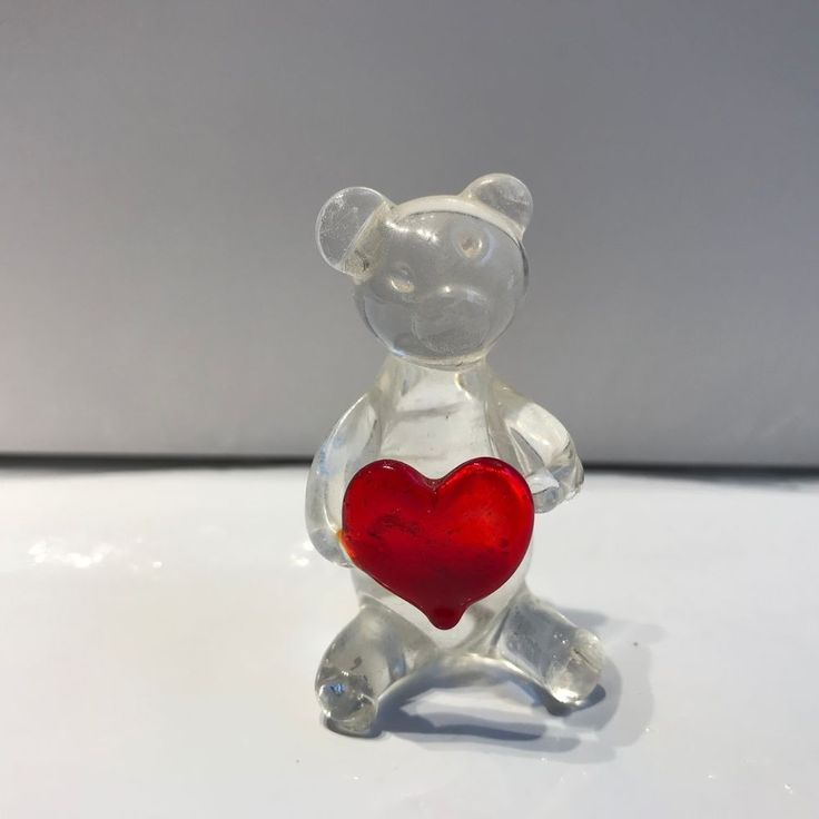 GLASS Teddy Bear Figurine holding red HEART miniature mini size #Unbranded