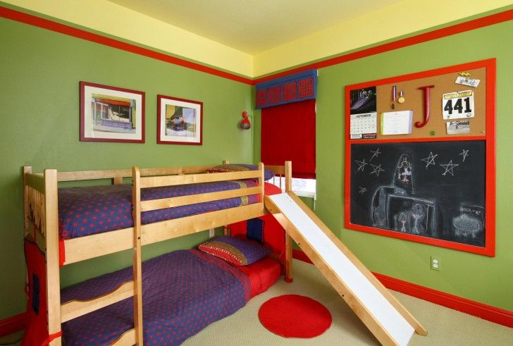 Kids Room Green Painted On The Wall Beige Solid Wood Bunk Bed With Slide Blue Polca Dot Bed Linen With Pillow Red Fabric Window Blinds Red  Blackboard Wall Round Red Fabric Rug Wonderful Green Kids Bedroom Design Ideas