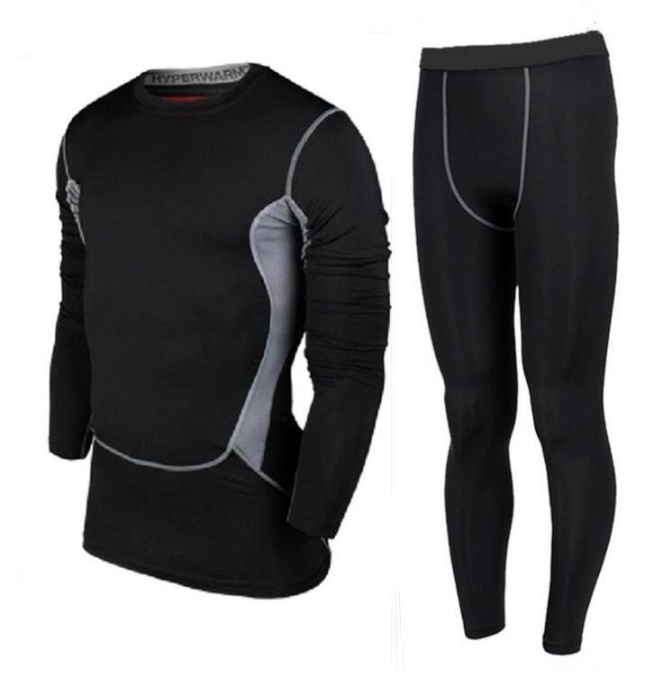גברים ספורט אימון כושר חליפת מכנסיים עם שרוולים ארוך גרביונים פרו בגדים למתוח סטי מדים כדורגל כדורסל שדה מסלול