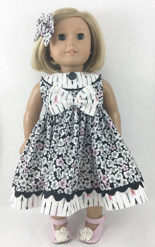 "Doll Dress Fits American Girl and Other 18"" Dolls Black White and Pink Flowers and Arrows Prints"