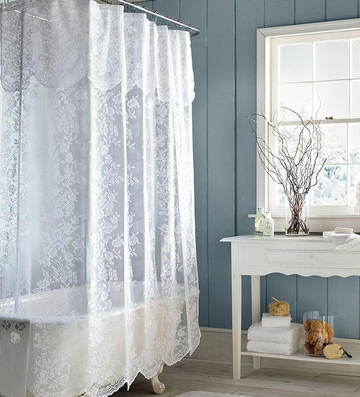 shower curtains | Easy-Care Polyester Somerset Lace Shower Curtain - Plow & Hearth