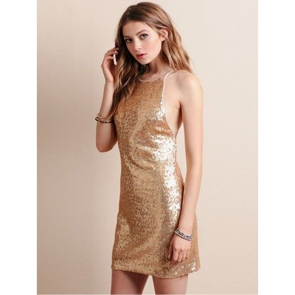Golden Sequin Stripe Back Bodycon Dress (22 AUD) ❤ liked on Polyvore featuring dresses, sequined dresses, golden dress, body con dress, sequin cocktail dresses and stripe bodycon dress
