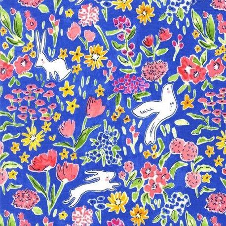 Tissu  Garden - bluberry  x 10cm