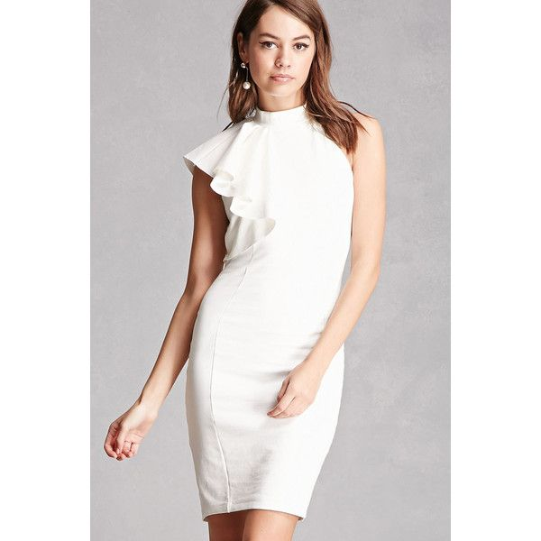 Forever21 High Neck One-Shoulder Dress ($45) ❤ liked on Polyvore featuring dresses, white, forever 21 cocktail dresses, white dress, white bodycon dress, white high neck dress and white cocktail dress