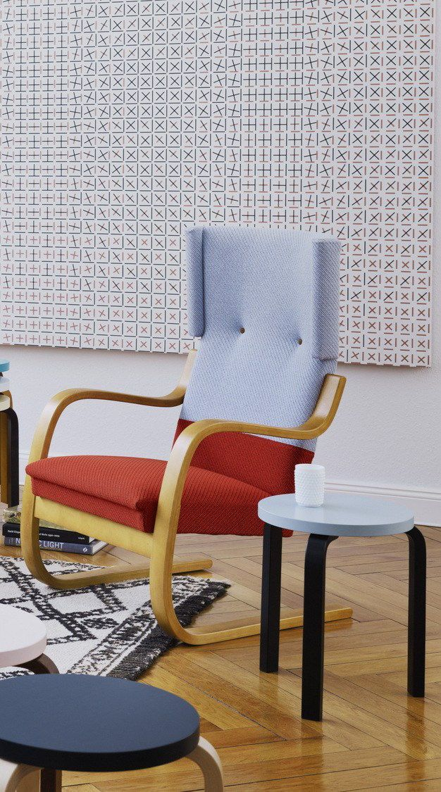 Hella Jongerius' reinterpretation of Alvar Aalto armchairs 400 and 401 together with Stool 60 is the beginning of a new collaboration on a crisp and tactile collection of Artek classics.