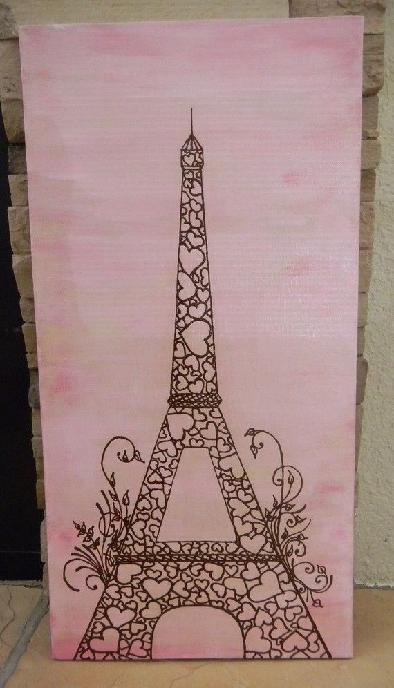 Original Painting Eiffel Tower Acrylic Mixed Media by mehndiart09, $65.00