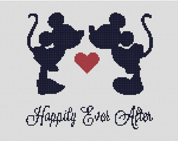 Counted Cross Stitch Pattern , Disney, Mickey & Minnie, Marriage Kit, Paper Pattern, Complete Kit