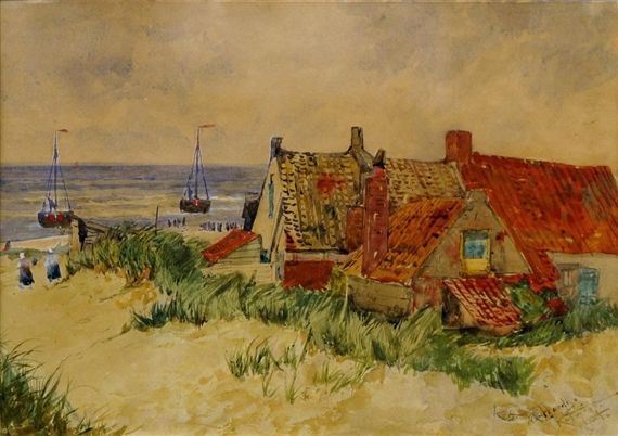 Thomas Bush Hardy - View of fishermen's cottages,...