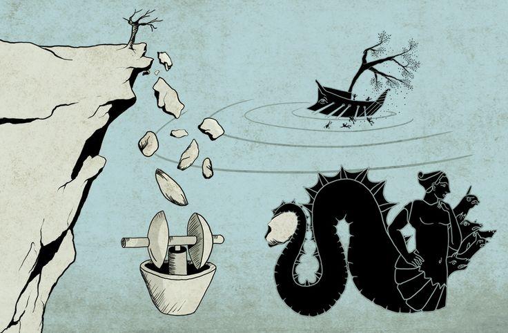 Charubdi and Skylla - Rhapsody E'   Illustration for the website Ithaki olive oil