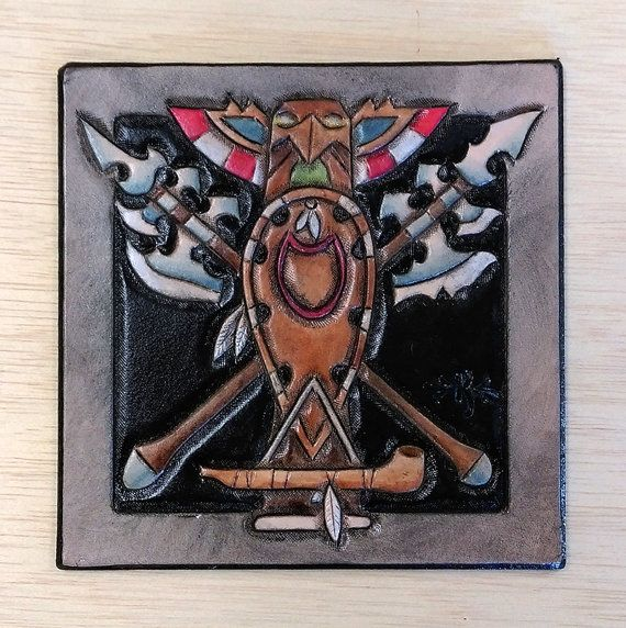 Leather coaster Crest of the Tauren by TimnKirasArt on Etsy