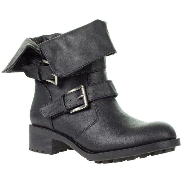 Black biker boots with fold over collar (£42) ❤ liked on Polyvore featuring shoes, boots, women's footwear, skechers boots, motorcycle boots, black biker boots, skechers and biker boots