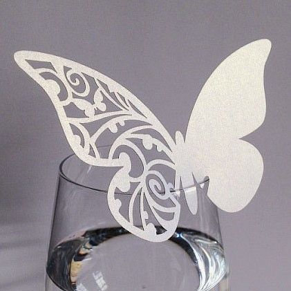 Hvid sommerfugl bordkort, 10 stk.