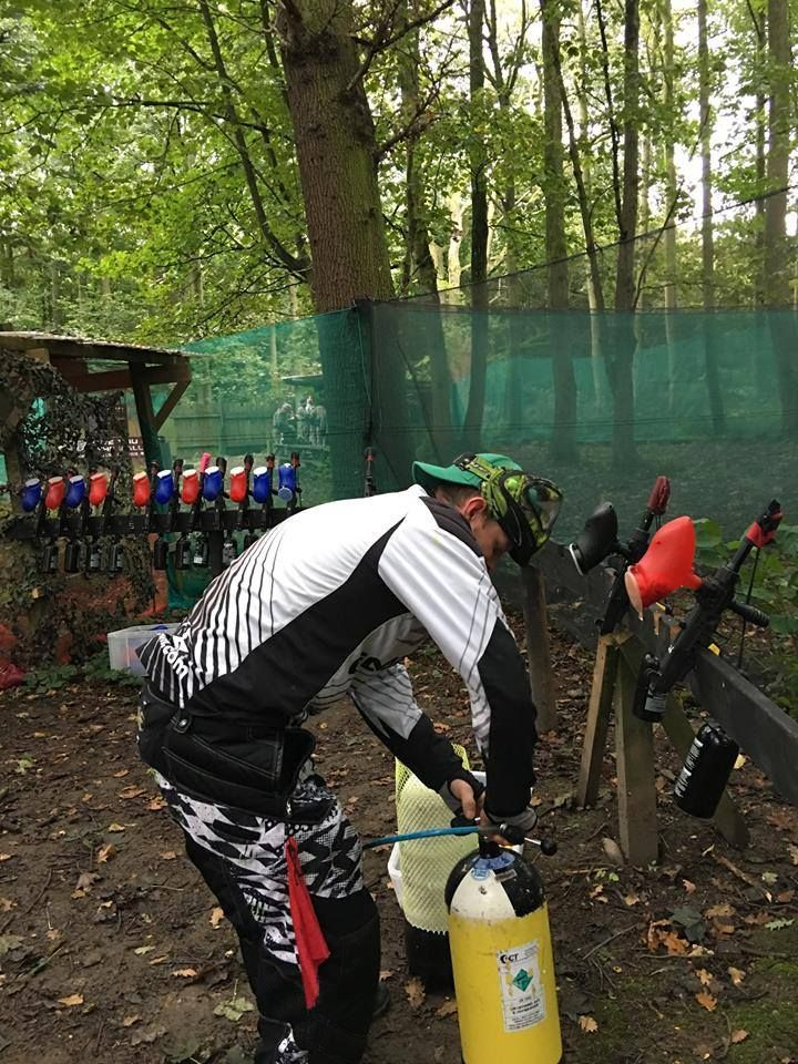 Instructor Dan in action at our Leeds Paintball Site ready for a group of Stags at the weekend!